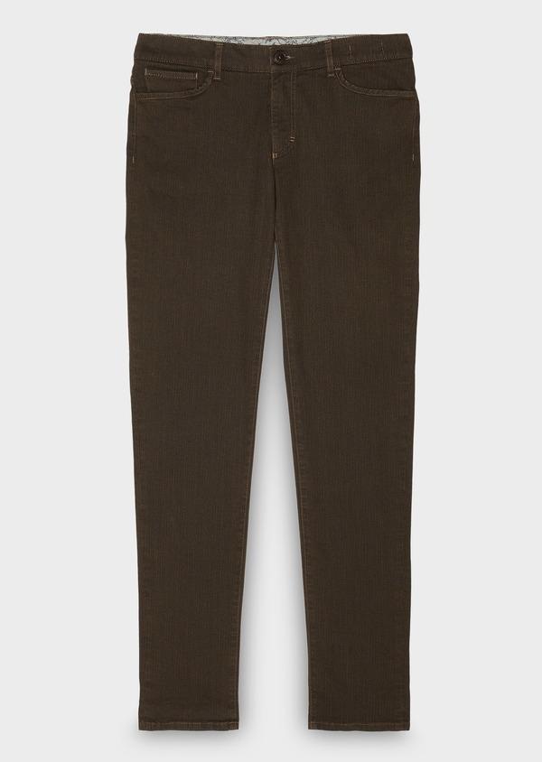 Pantalon skinny en coton beige foncé à motif fantaisie - Father and Sons 26975