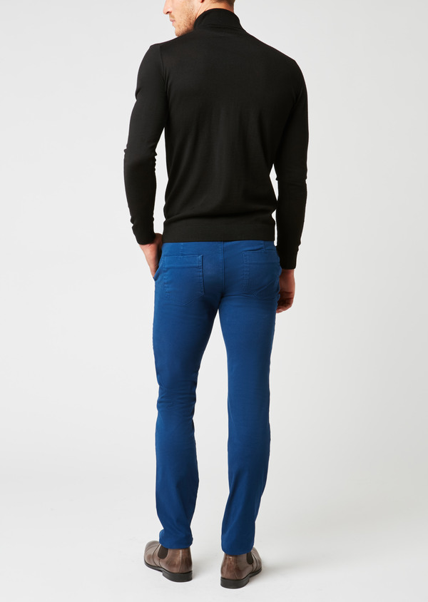 Chino slack skinny en satin à motif fantaisie saphir - Father and Sons 26922