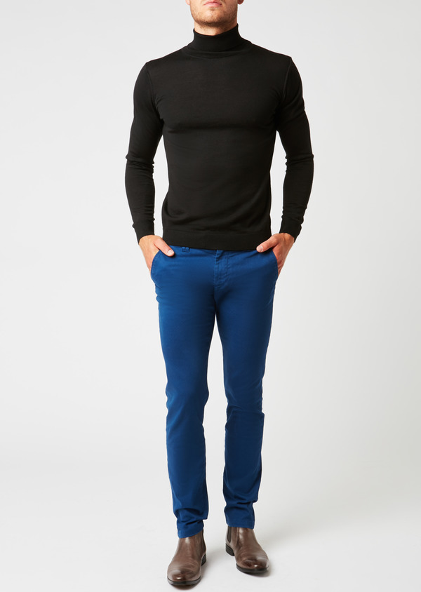 Chino slack skinny en satin à motif fantaisie saphir - Father and Sons 26921