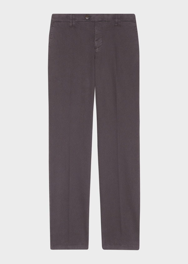 Chino slack skinny en satin chocolat à motif fantaisie - Father and Sons 30799
