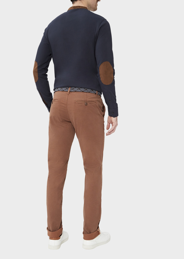 Pantalon casual skinny en twill fantaisie cognac - Father and Sons 37384