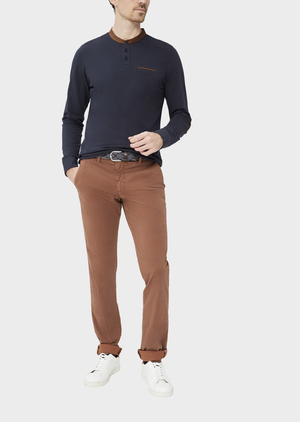 Pantalon casual skinny en twill fantaisie cognac - Father and Sons 37383