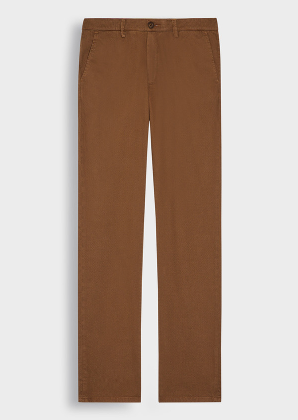 Pantalon casual skinny en twill fantaisie cognac - Father and Sons 37381