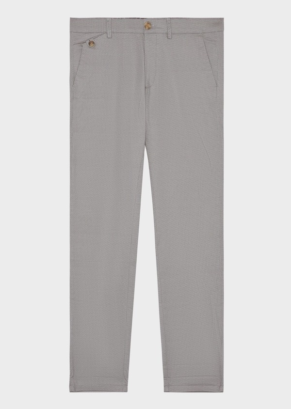 Chino slack skinny en coton stretch à motif fantaisie gris - Father and Sons 38732
