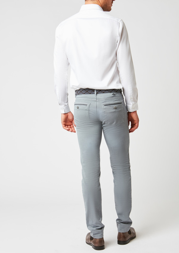 Pantalon skinny en coton façonné gris à motif fantaisie - Father and Sons 26984