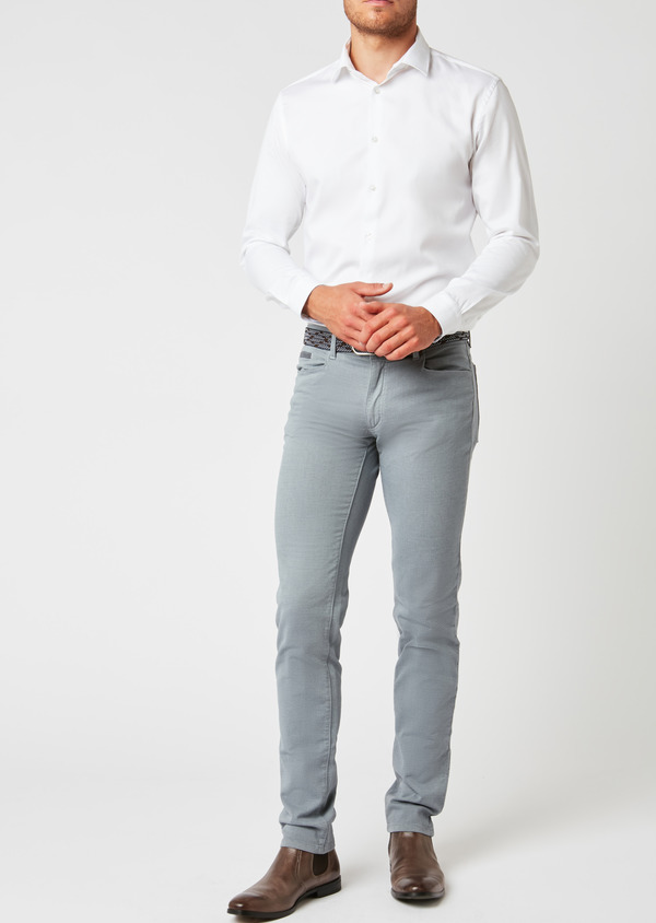 Pantalon skinny en coton façonné gris à motif fantaisie - Father and Sons 26983