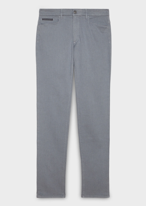Pantalon skinny en coton façonné gris à motif fantaisie - Father and Sons 26981