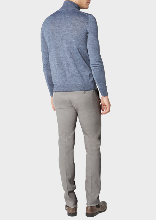 Chino slack skinny en coton stretch gris chiné à motif fantaisie - Father and Sons 31166