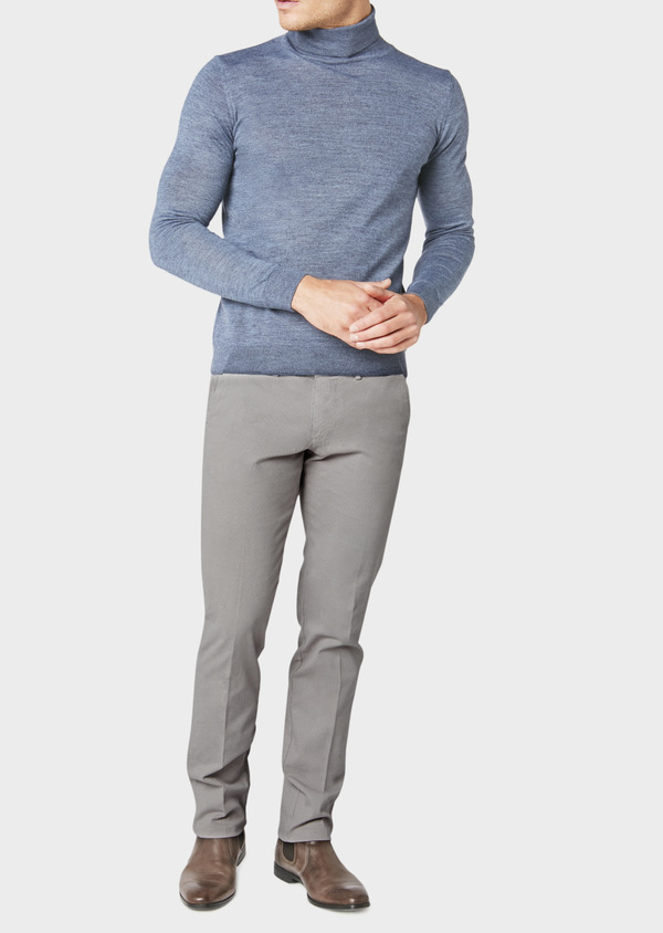 Chino slack skinny en coton stretch gris chiné à motif fantaisie - Father and Sons 31165