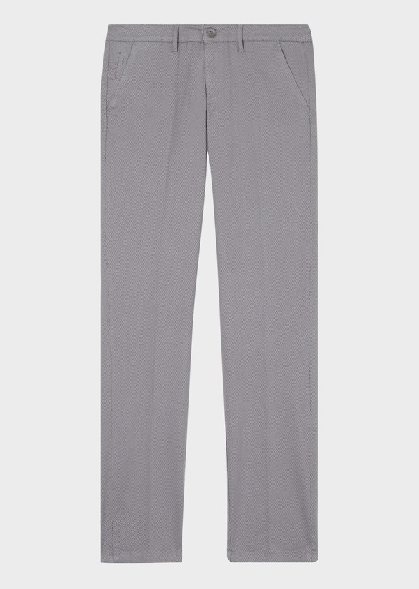 Chino slack skinny en coton stretch gris chiné à motif fantaisie - Father and Sons 31163