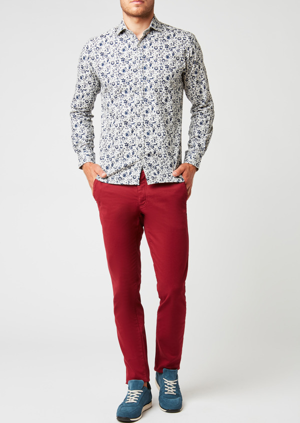 Chino slack skinny en satin rouge à motif fantaisie - Father and Sons 26954