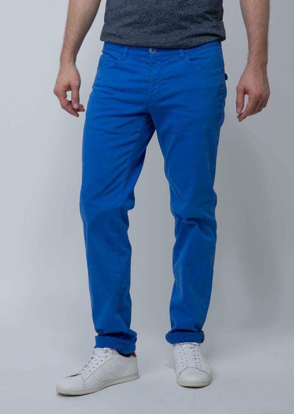 714b869e86583 Chino slack skinny en coton stretch bleu fleuri - Father and Sons 18497