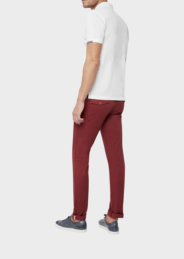 Chino slack skinny en coton stretch à micro motifs géométriques bordeaux - Father and Sons 38731