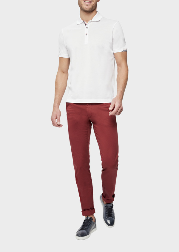 Chino slack skinny en coton stretch à micro motifs géométriques bordeaux - Father and Sons 38730