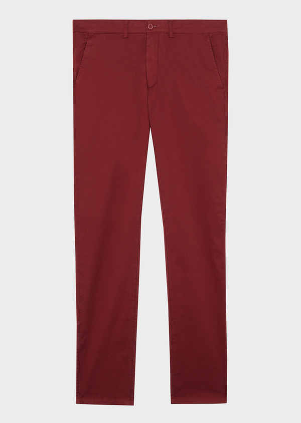 Chino slack skinny en coton stretch à micro motifs géométriques bordeaux - Father and Sons 38728