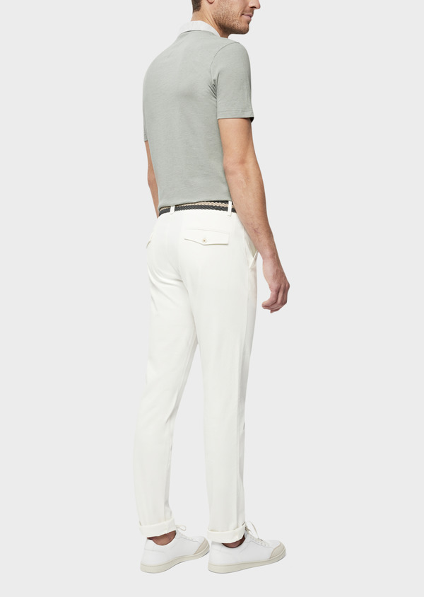 Chino slack skinny en coton stretch uni blanc - Father and Sons 40191