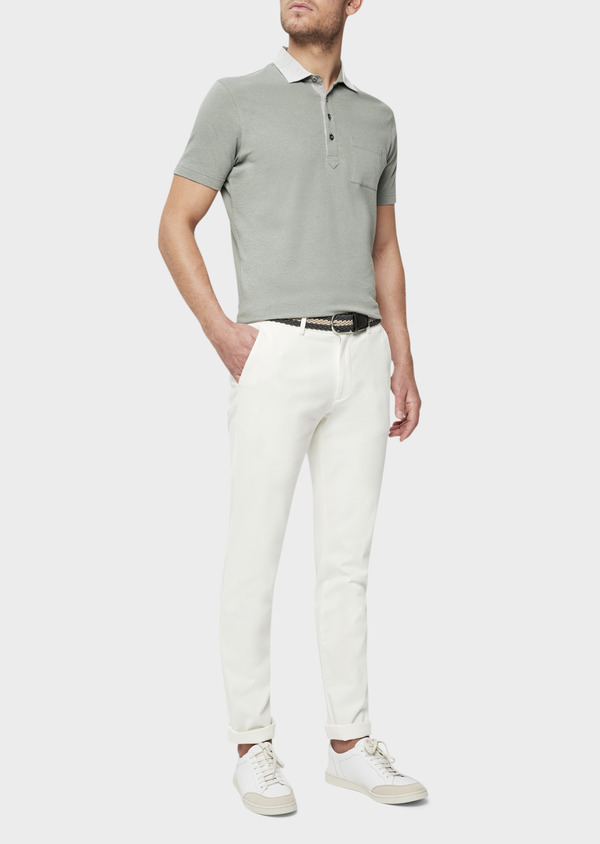 Chino slack skinny en coton stretch uni blanc - Father and Sons 40190