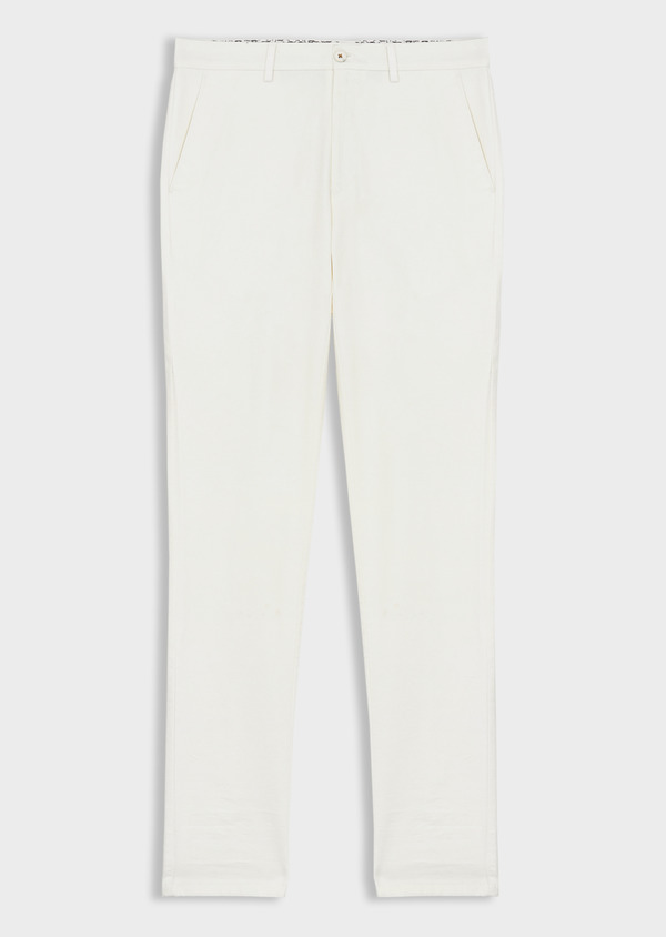 Chino slack skinny en coton stretch uni blanc - Father and Sons 40188