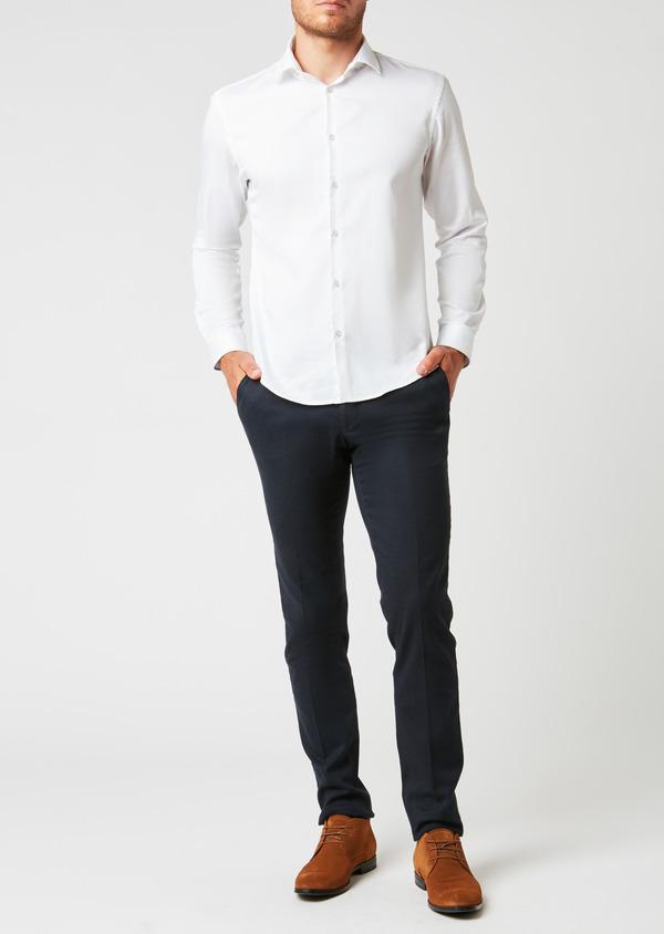 Pantalon coordonnable Slim en coton façonné uni bleu - Father and Sons 26932