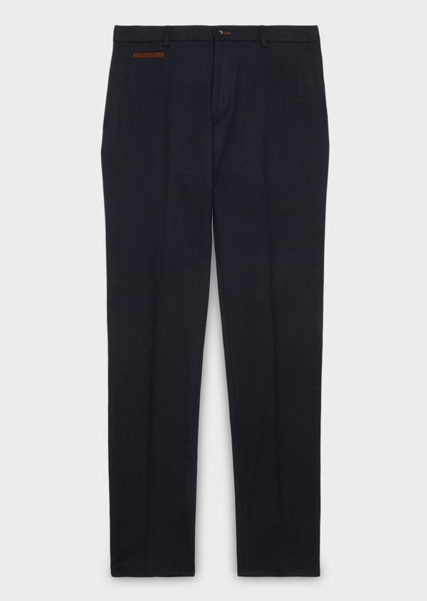 Pantalon coordonnable Slim en coton façonné uni bleu - Father and Sons 26931