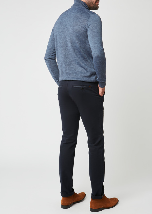 Chino slack skinny en coton stretch uni marine - Father and Sons 28010