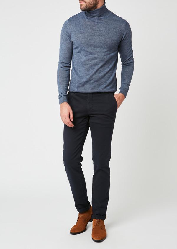 Chino slack skinny en coton stretch uni marine - Father and Sons 28009