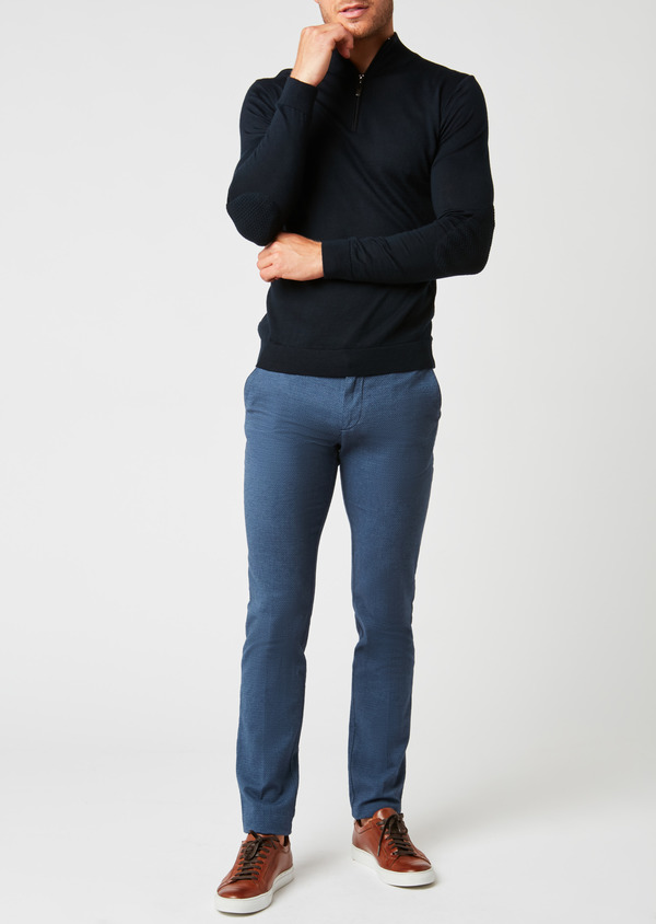 Chino slack super skinny en coton façonné uni bleu pétrole - Father and Sons 26927
