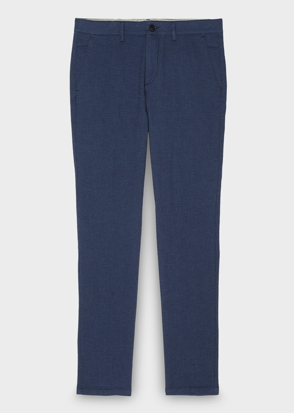 Chino slack super skinny en coton façonné uni bleu pétrole - Father and Sons 26925