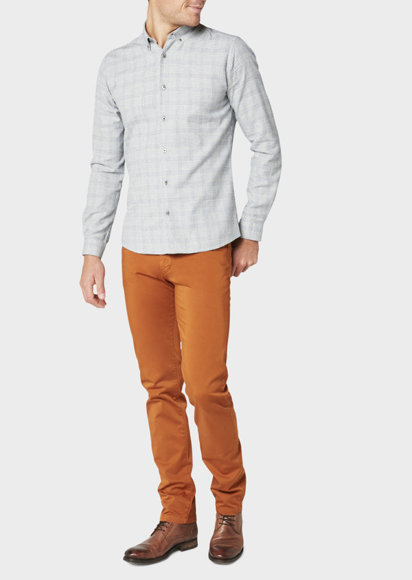 Chino slack skinny en coton stretch uni marron - Father and Sons 31129