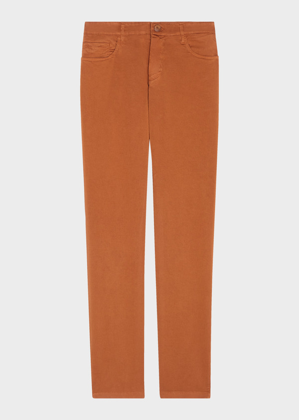 Chino slack skinny en coton stretch uni marron - Father and Sons 31127