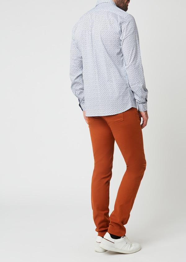 Pantalon skinny en coton façonné uni marron - Father and Sons 28026