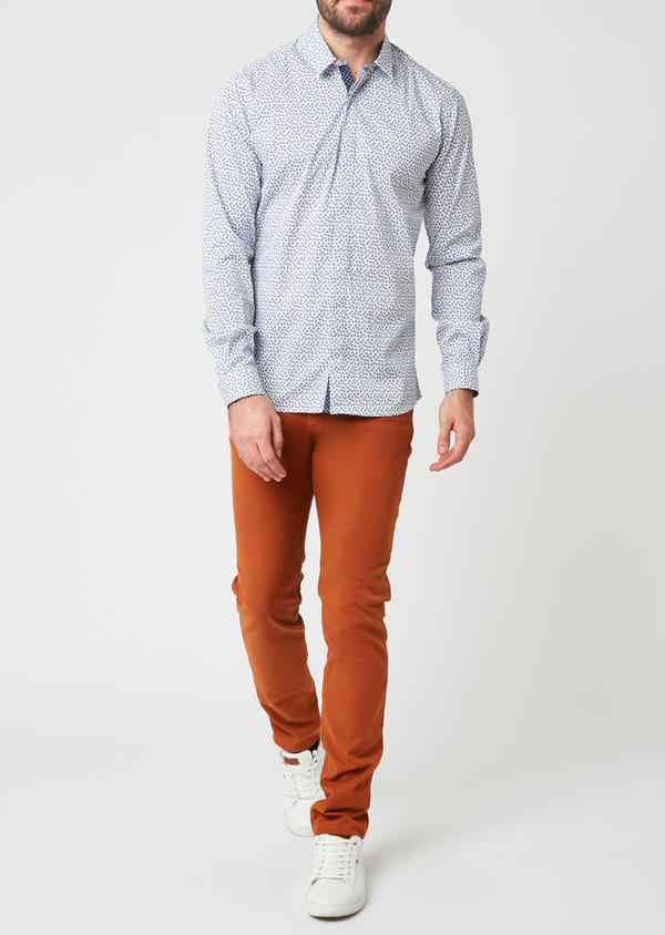 Pantalon skinny en coton façonné uni marron - Father and Sons 28025