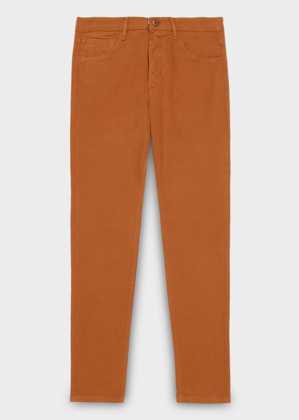 Pantalon skinny en coton façonné uni marron - Father and Sons 28023