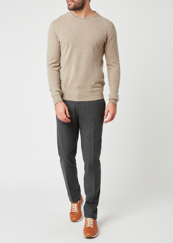 Pantalon coordonnable Slim en coton façonné uni gris - Father and Sons 27997