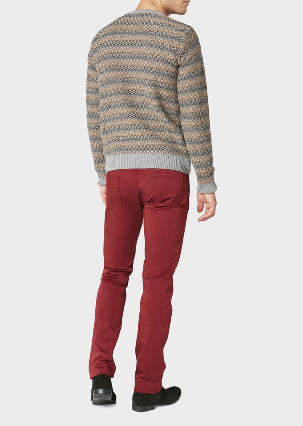 Chino slack skinny en coton stretch uni bordeaux - Father and Sons 31136