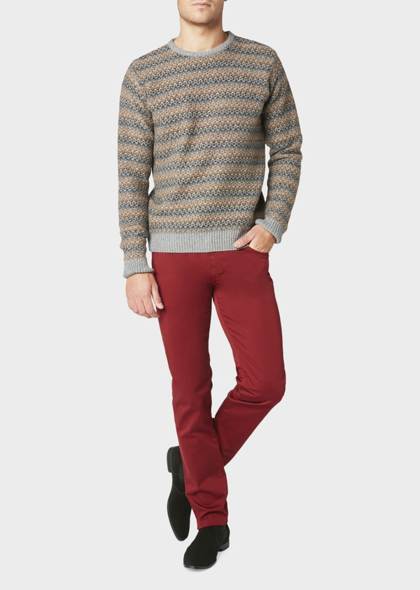 Chino slack skinny en coton stretch uni bordeaux - Father and Sons 31135