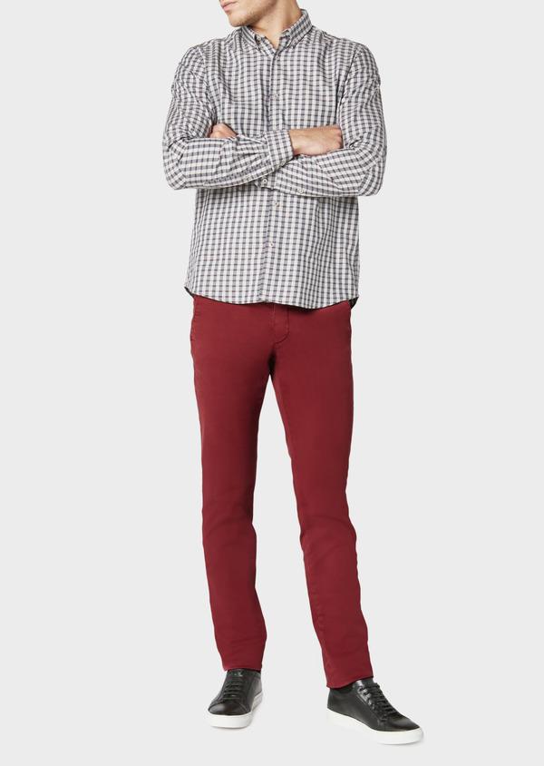 Chino slack skinny en coton uni bordeaux - Father and Sons 31183