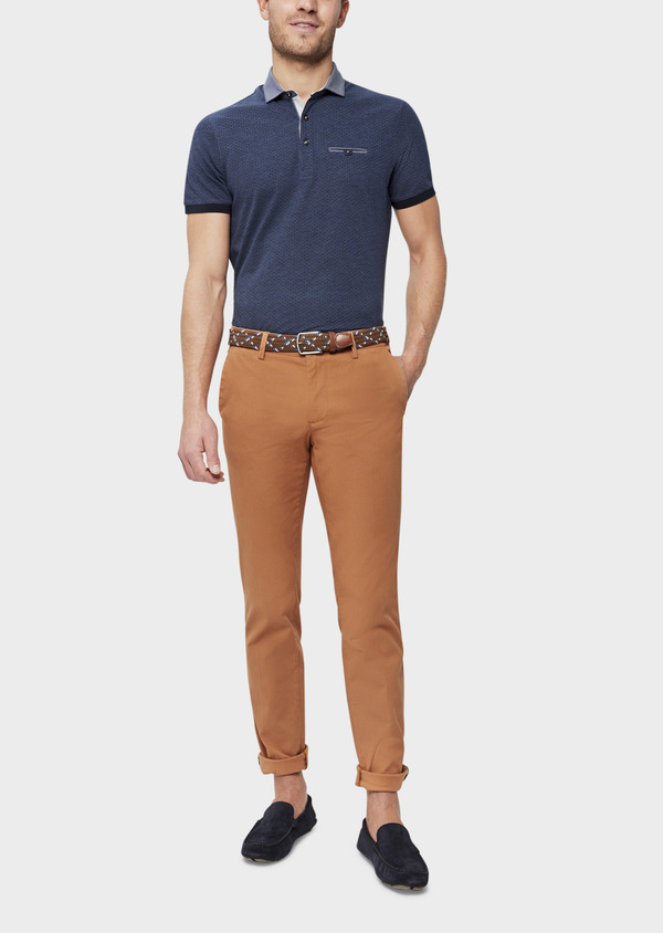 Chino slack skinny en coton stretch uni caramel - Father and Sons 39219