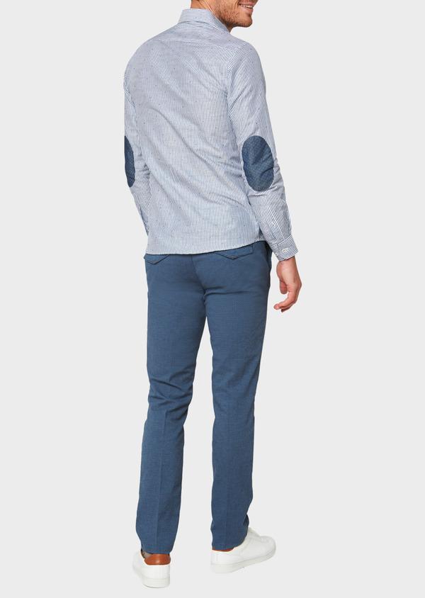 Chino slack skinny en coton façonné stretch uni bleu gris - Father and Sons 31824