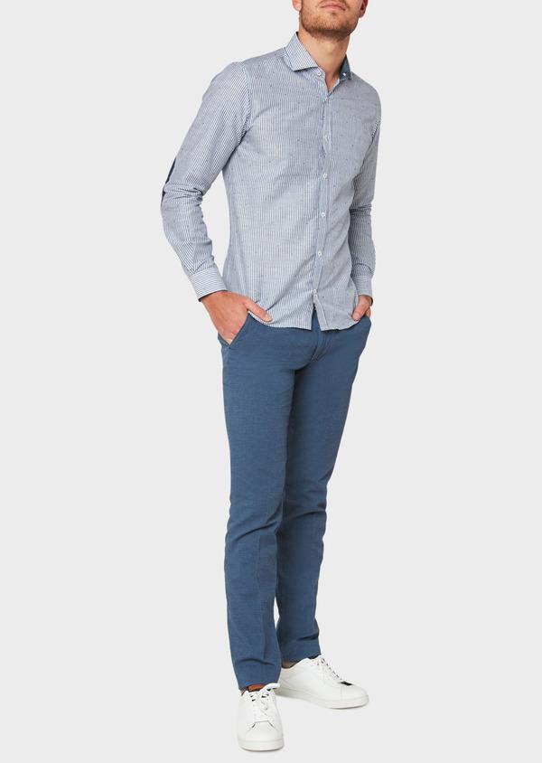 Chino slack skinny en coton façonné stretch uni bleu gris - Father and Sons 31823