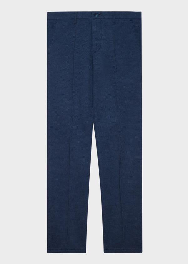 Chino slack skinny en coton façonné stretch uni bleu gris - Father and Sons 31630
