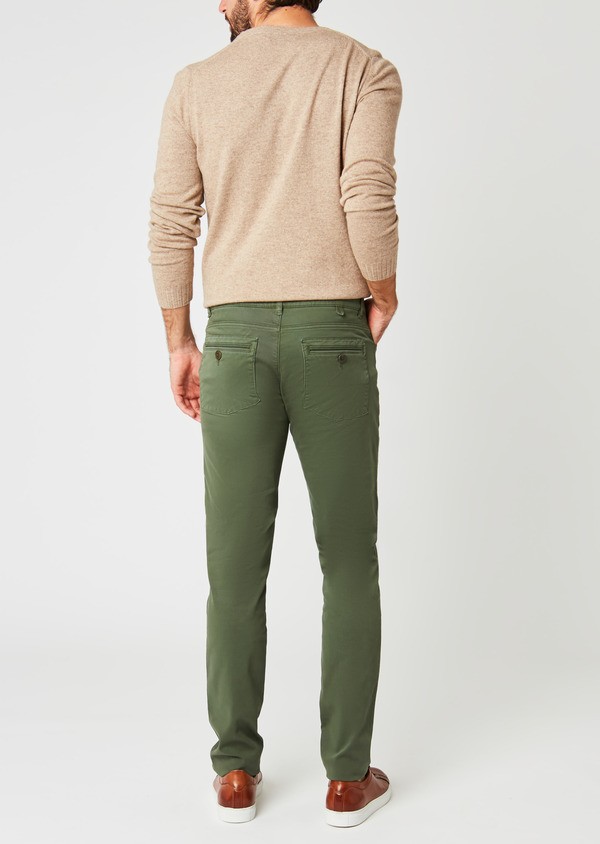 Pantalon skinny en coton stretch uni kaki - Father and Sons 26972
