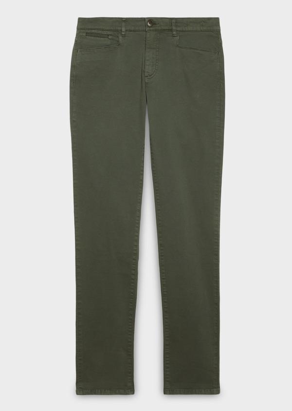 Pantalon skinny en coton stretch uni kaki - Father and Sons 26969