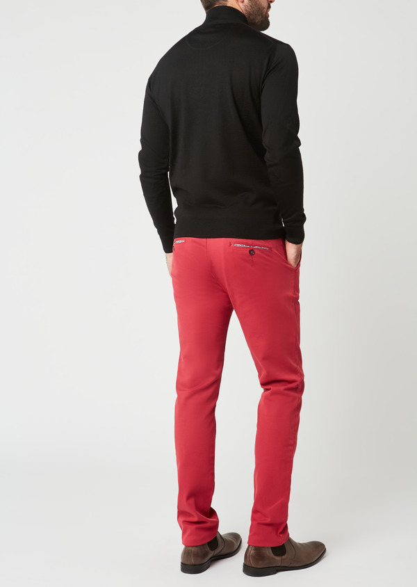 Chino slack skinny en coton façonné uni rose - Father and Sons 28004