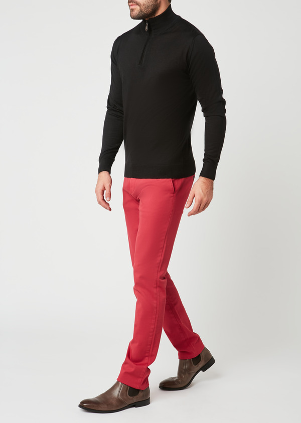 Chino slack skinny en coton façonné uni rose - Father and Sons 28003