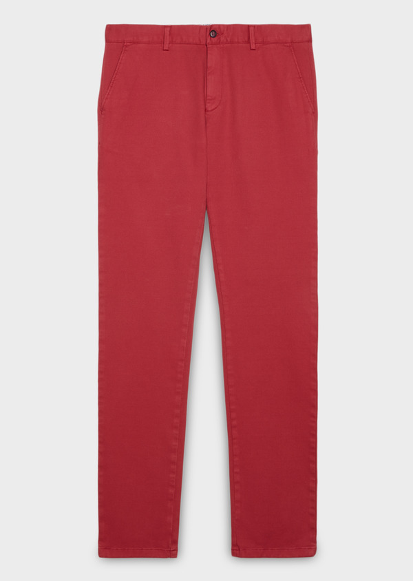 Chino slack skinny en coton façonné uni rose - Father and Sons 28001