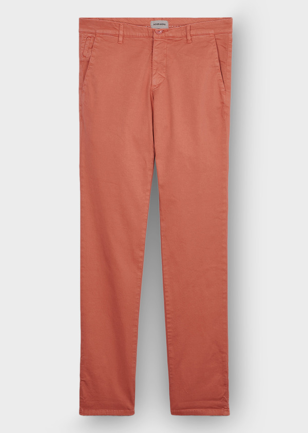 Chino slack skinny en coton stretch uni vieux rose - Father and Sons 30145