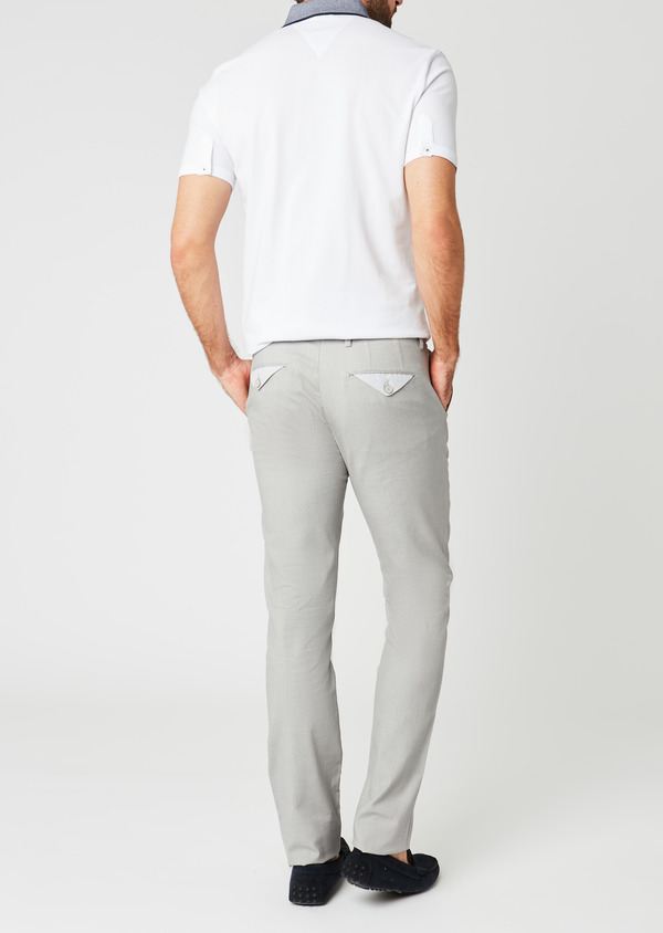 Chino slack skinny en coton stretch gris clair à motif - Father and Sons 20220