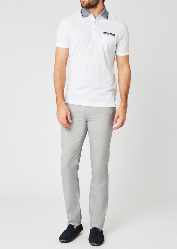 Chino slack skinny en coton stretch gris clair à motif - Father and Sons 20219