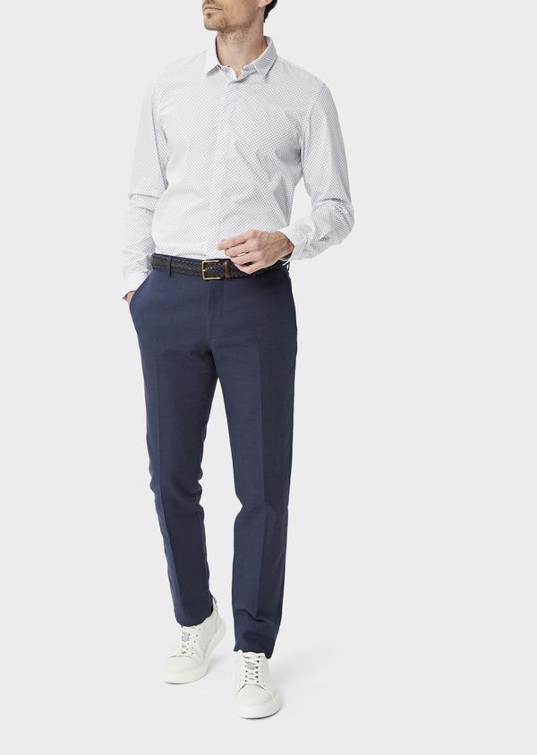 Pantalon coordonnable Slim en lin et coton bleu marine Prince de Galles - Father and Sons 39862